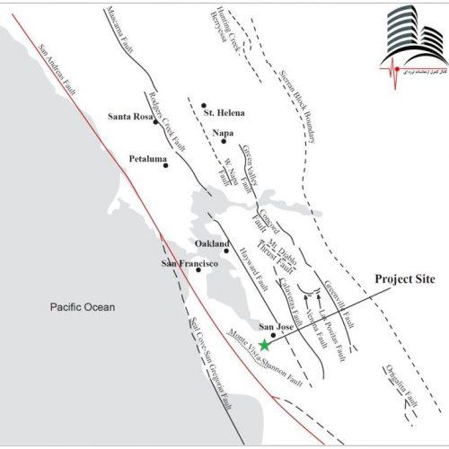 موقعیت ساختمان اپل پارک در منطقه به شدت لرزه خیز ایالت کالیفرنیا