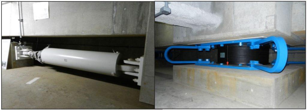سمت راست) جداساز LRB همراه با واشر فلزی (conical و Belleville spring washers)، سمت چپ) میراگر ویسکوز موازی با جداساز لرزه ای