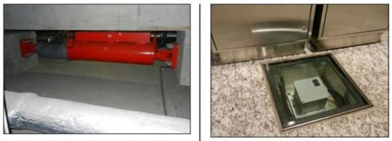 سمت راست) شتاب سنج ساختمان که به سیستم نیمه فعال متصل است، سمت چپ) میراگر نیمه فعال