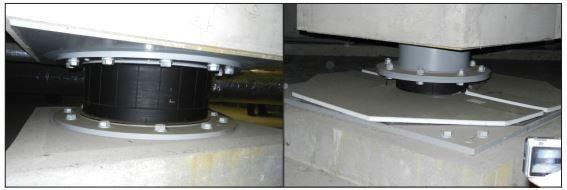 سمت راست) تکیه گاه PTFE، سمت چپ) LRB استفاده شده در ساختمان یازمی