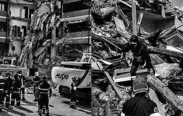 ساختمانی تخریب شده در زلزله
