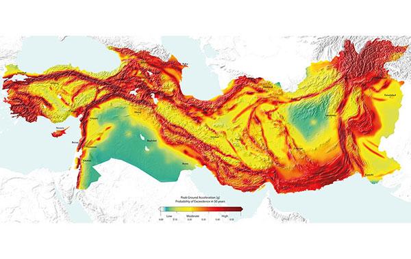 نقشه لرزه خیزی خاورمیانه