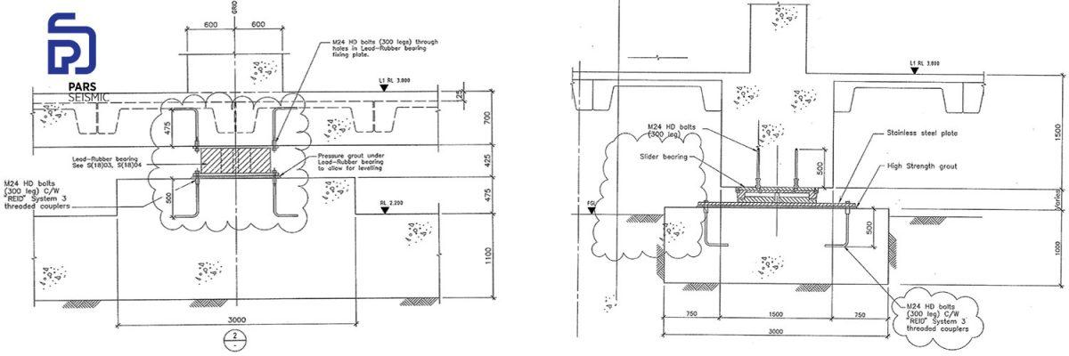 نمونه از نقشه جزئیات نصب سیستم جداسازی لرزه ای موزه ته پاپا