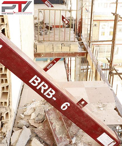 مهاربند کمانش تاب (BRB) تولید شرکت پویا تدبیر ویرا (Vira Brace) که در مقاوم سازی ساختمانی آسیب دیده در زلزله به کار رفته است.