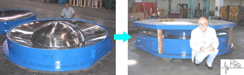 تصویر جداساز لرزه ای اصطکاکی پاندولی واقعی (سمت چپ) و مقیاس شده (سمت راست)
