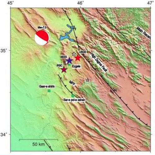 موقعیت مرکز سطحی زمین لرزه 21 آبان ماه 1396 سرپل ذهاب مطابق با گزارش مراکز مختلف لرزه نگاری، برگرفته از مرکز لرزه نگاری کشوری وابسته به موسسه ژئوفیزیک دانشگاه تهران (IRSC).