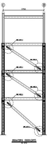 نقشه ای نمونه از مهاریند کمانش تاب در طرح مقاوم سازی ساختمان مسکونی