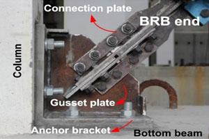 جزئیات اتصال مهاربند کمانش تاب به قاب بتنی، RC building، BRB